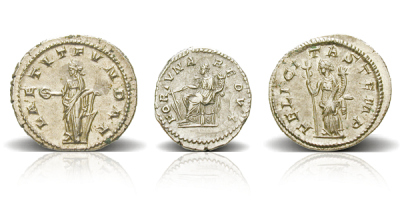 200 AD Roman Lucky Charms Silver 3 Coin Set