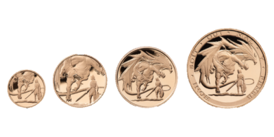 4 Coin Set St George & the Dragon Sovereign 2019 Into the Dragon's Lair