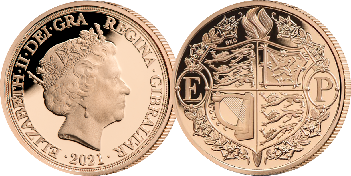 Coin features a beautiful rendition of Her Majesty Queen Elizabeth II's coat of arms encircled with a regal garland of roses entwined with a laurel wreath.