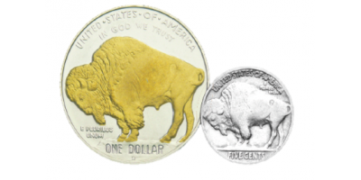 American Buffalo Coin and Golden Note Set
