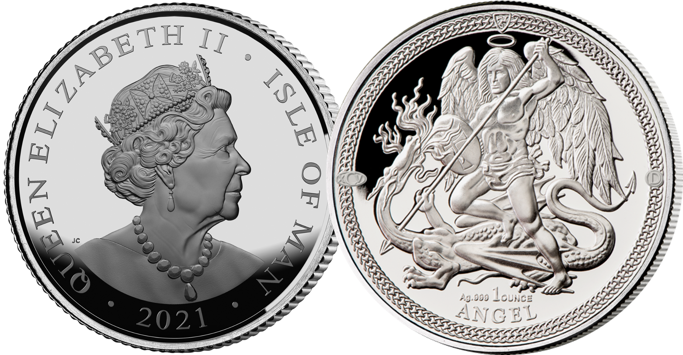 The world wide renowned Angel design commemorates a Dual Royal Anniversary with an double mintmark for the first time ever!