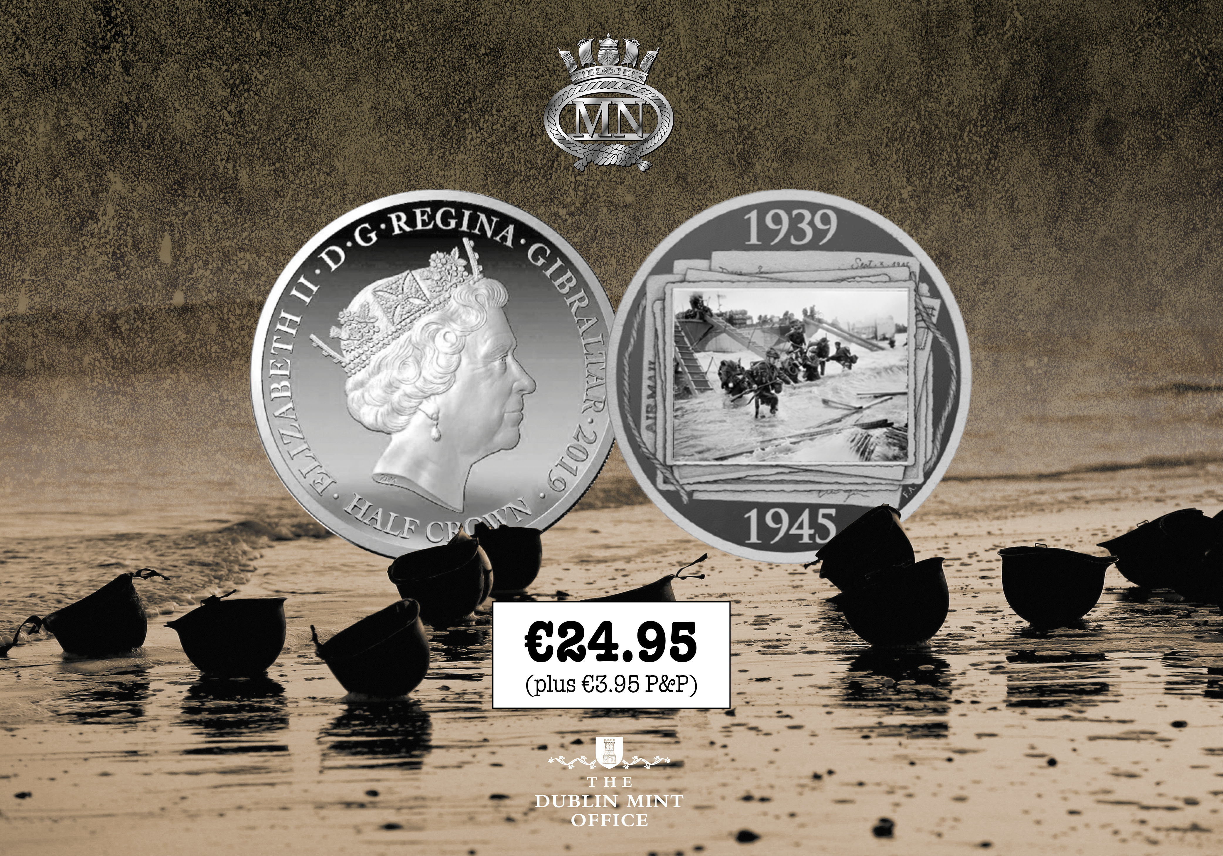 The Official D-Day 75th Anniversary coin - in Partnership with the Merchant Navy Association