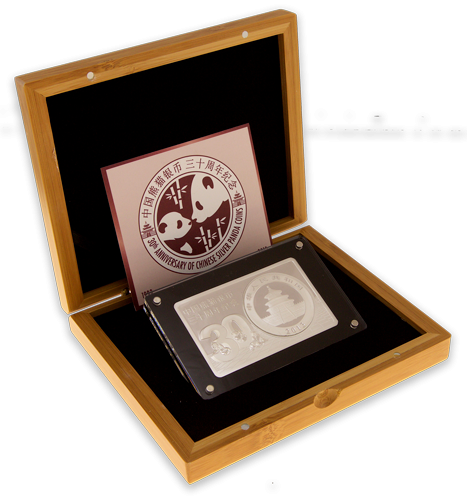 Exquisite 2oz silver bar with a 1oz silver panda coin placed in it.
