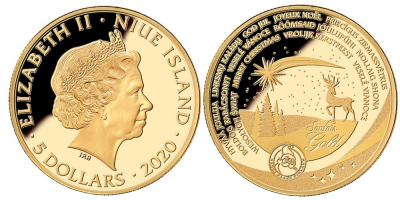 Christmas coin 1/10oz Gold 18mm, 3.11g, Gold, Proof Niue 2020.