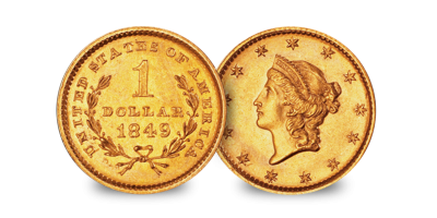 Complete One Dollar 3 Gold Coin Set