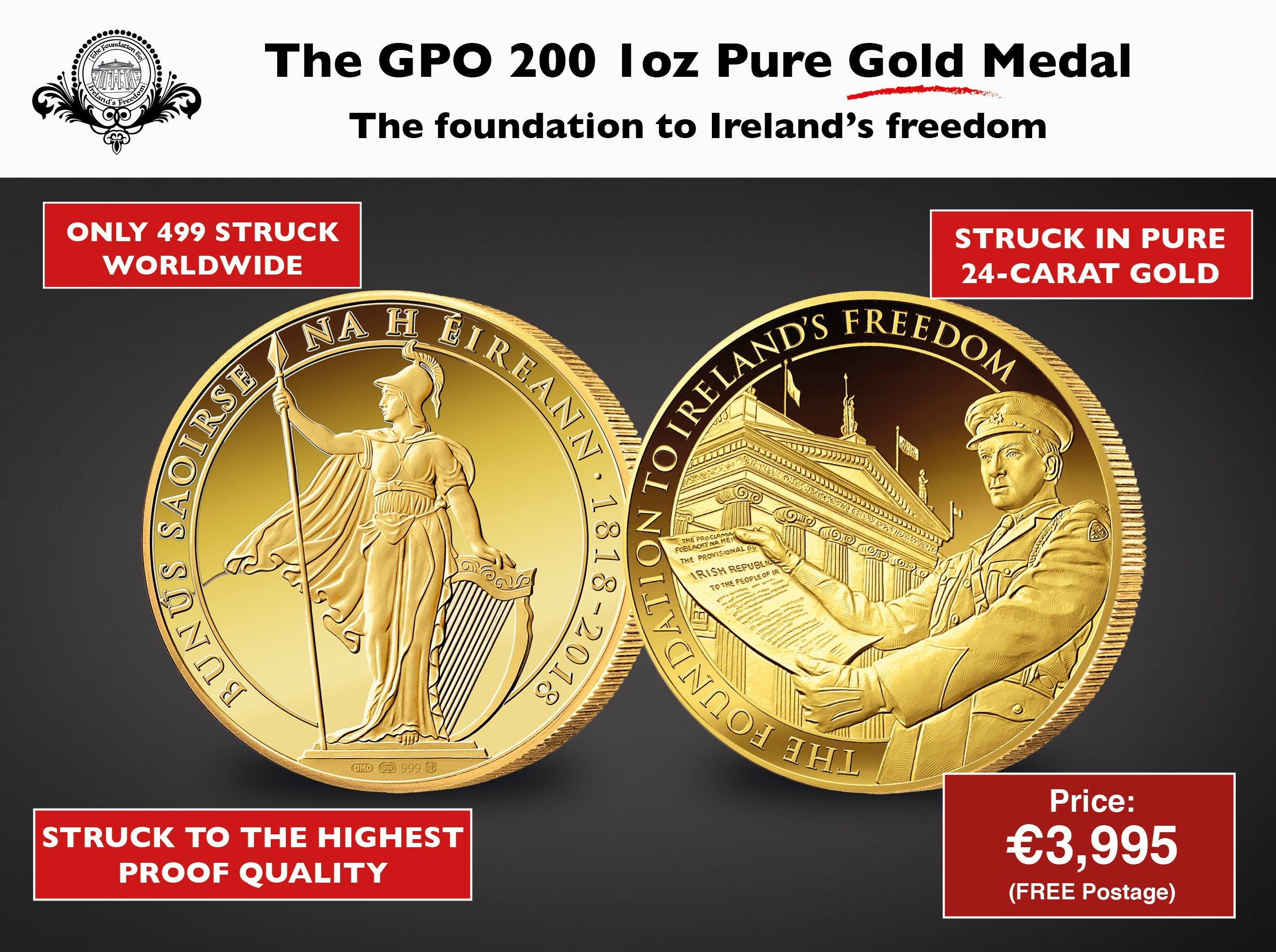 GPO 200 Pádraig Pearse 1oz Pure Gold Medal