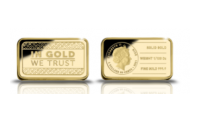 Affordable 1/100 Oz pure gold lead-buster with generic 'In Gold We Trust'-theme.