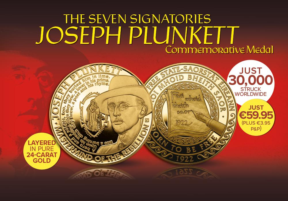 The Joseph Plunkett Gold Layered Commemorative Medal