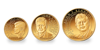 John F. Kennedy 3 Coin Gold Collection