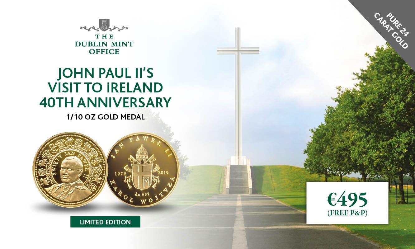 The John Paul II 40th Anniversary Gold 1/10oz Gold Medal