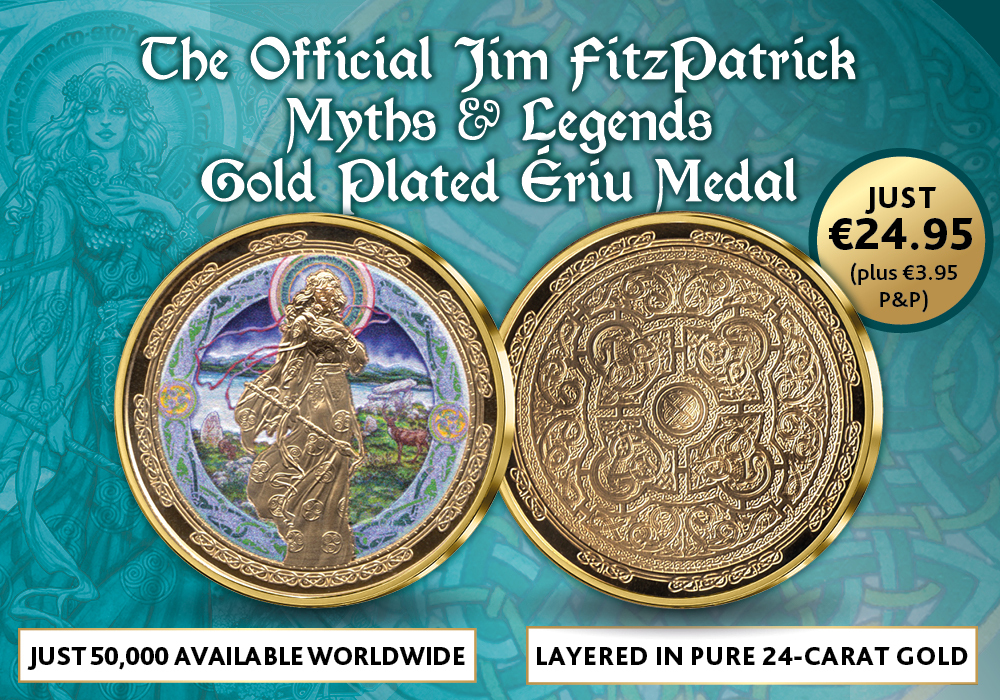Official Jim Fitzpatrick's Myths and Legends Ériu Gold Plated Medal