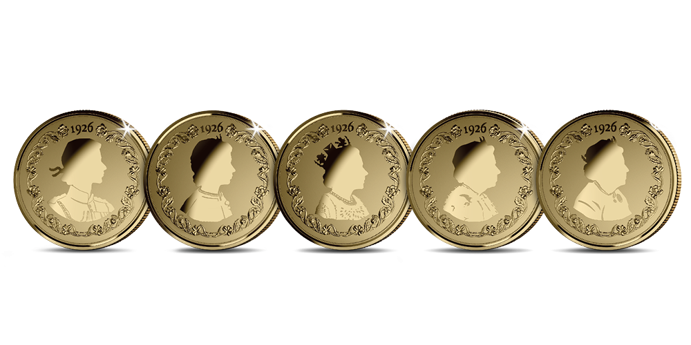 Five silhouette style coins featuring portraits of Her Majesty Queen Elizabeth II