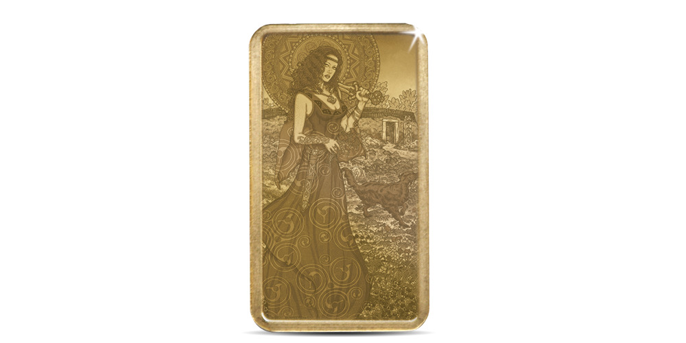 Ingot featuring a beautiful depiction of the warrior queen, designed by famous Irish artist Jim FitzPatrick.
