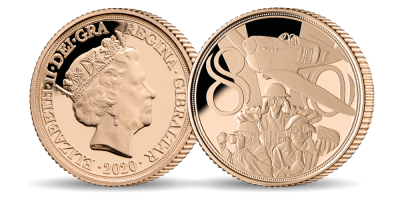 Official Royal Air Force 'Never was so much owed' Quarter Sovereign