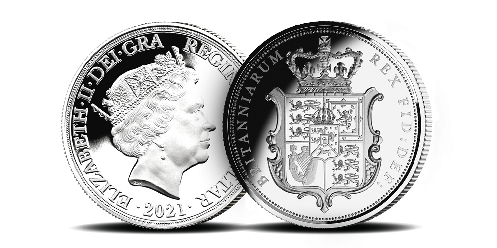 George IV's spectacular 'Shield' design, The first ever Silver Sovereign to feature the Irish Harp.