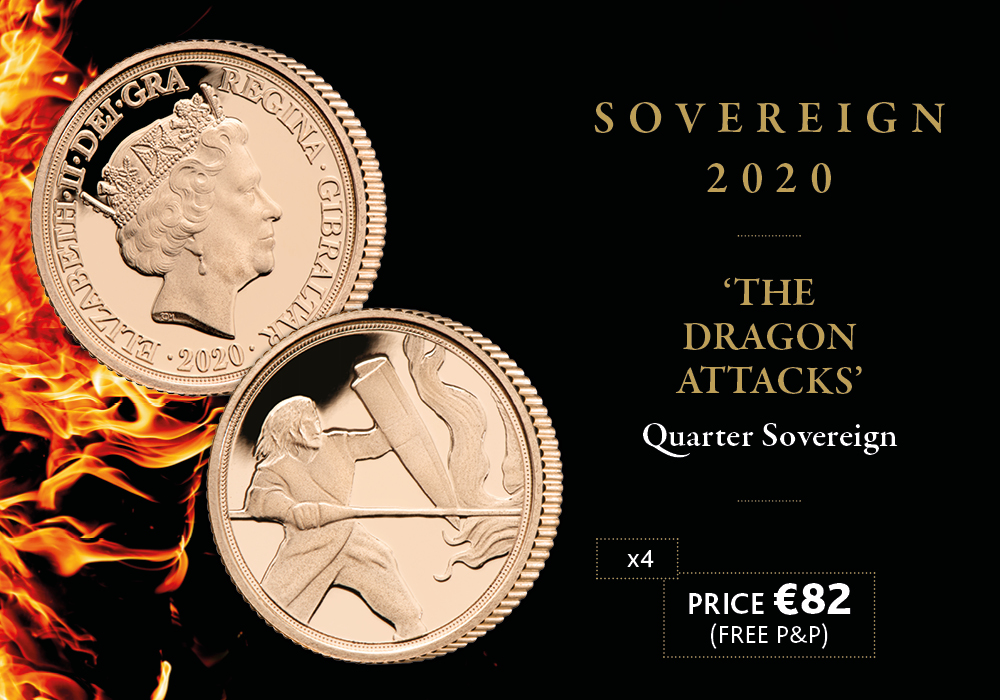 The Dragon Attacks 2020 Gold Quarter Sovereign
