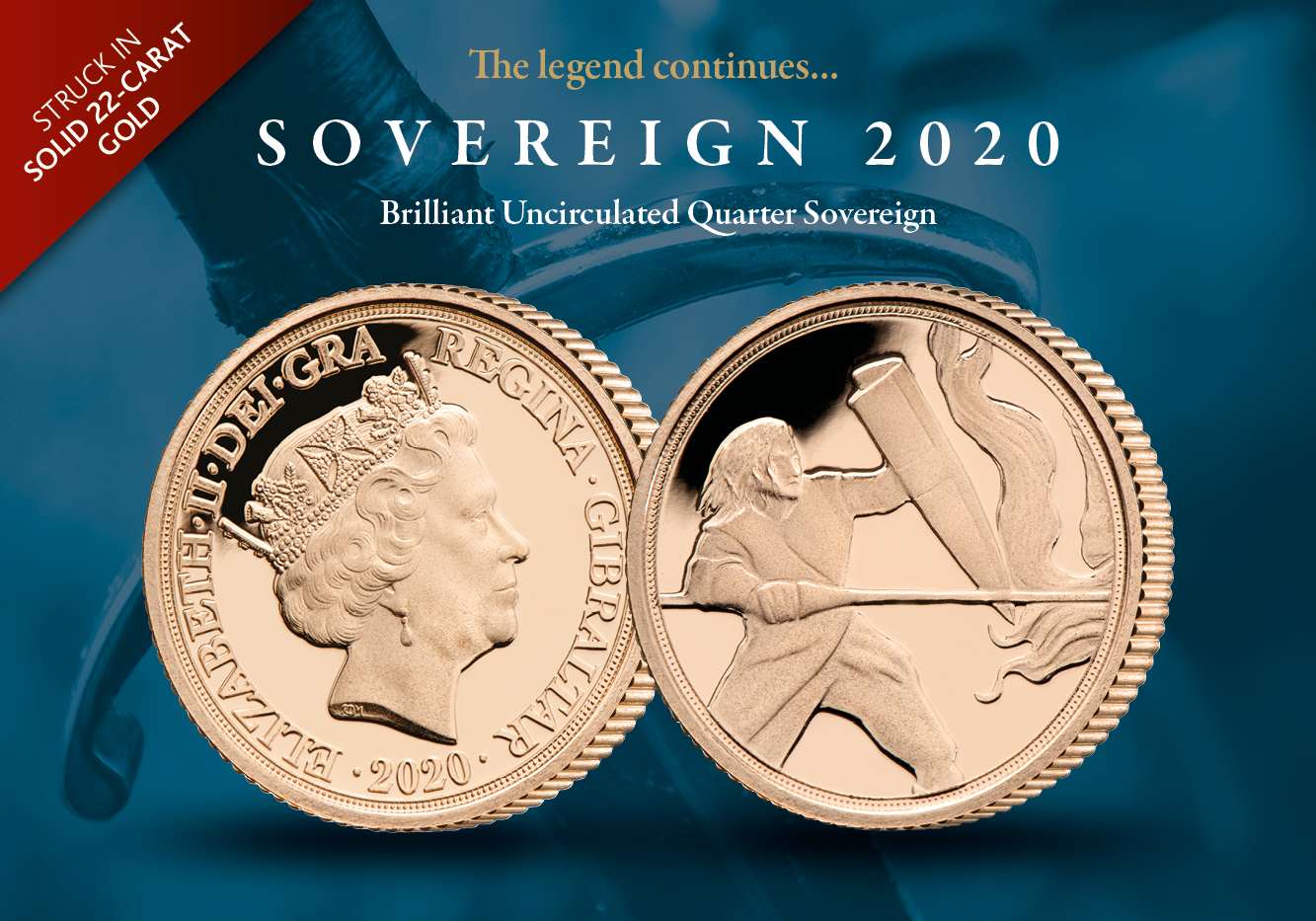 'The Dragon Attacks' 2020 Brilliant Uncirculated Gold Quarter Sovereign