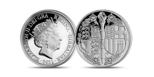 The coin features the Coat of Arms of High Royal Highness Prince Philip by heraldic artist Gregory Cameron.