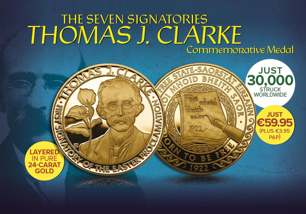 Thomas J Clarke Gold Layered Commemorative Medal