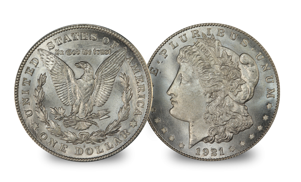 An original 1921 Morgan Dollar